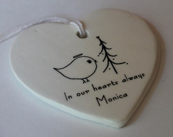 CUSTOM Memorial Heart Ornament - Angel Bird with tree, custom name