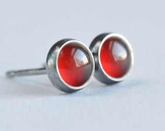 red carnelian 5mm sterling silver stud earrings pair