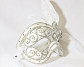 CUSTOM Masquerade Ball Mask -  Silver and White - Wedding Mask - Venetian Mask - Rhinestone Mask - White Mask  - Desire