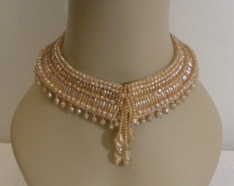 Vintage 1940s Fresh Water Pearl Collar - Sweater Collar