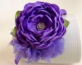 Soft purple flowers headband