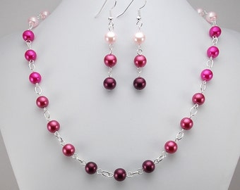 Necklace and Earring Set - Shades of Pink Glass Pearls with Silver - Fuchsia - Ombre