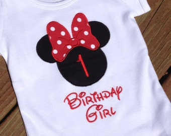 Minnie Mouse Birthday Girl Shirt or Onesie