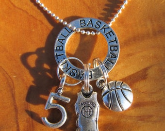 Basketball -  I Love Basketball Necklace- Personalize - Choose any Team Number - Great Gift for any Basketball Player or Coach