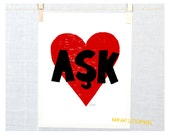 Love Turkish Language Print and Card for Weddings, Anniversary and Engagement, Attaturk