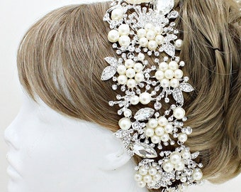 OS Large Silver Rhinestoneand Pearl and Floral Hair Piece Pin