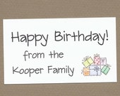 Birthday Presents Gift Enclosure Cards - Treat Bag Tags - Birthday Party Favor Tags - Calling Cards - Stack of Presents
