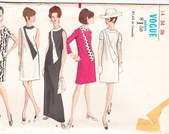 Vintage 1969 Vogue 7206 Sewing Pattern Misses' Dress in Two Lengths Size 14 Bust 34