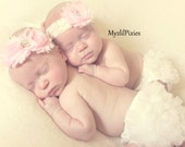 2 Baby Chiffon Bloomers and 2 Baby headbands Perfect For Twins - photo prop