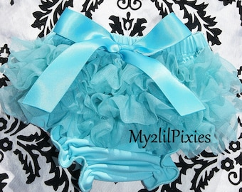 Bloomers. Turquoise Bloomers, Ruffle bum bloomers. Baby Girl Bloomers, Cake Smash, Newborn Bloomers.Diaper cover, Ruffle bum Ready to ship