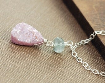 Teal and Pink Aquamarine Gemstone Pendant Necklace, Sterling Silver Wire Wrap, Delicate Drop Necklace