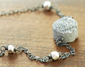 Druzy Sterling Silver Necklace, Druzy Pendant Necklace, Drusy Jewelry, Modern Silver Necklace