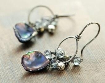 Peacock Keishi Pearl Earrings in Sterling Silver, Pearl Hoop Earrings Gemstone Clusters, June Birthstone Jewelry