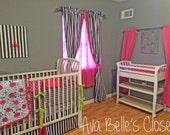 Baby Girl Nursery Bed Set - Hot Pink Grey Floral Stripe - 12 piece