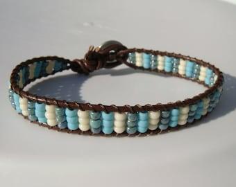 Blue Stripes Beaded Leather Bracelet