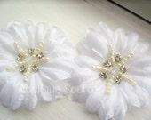 Soft WHITE Silk Flowers with Rhinestones and Pearls x 2 - Beautiful for Wedding Decor, Bridal Headpieces, Etc - Elegant!