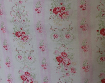 Yuwa Pink Rose Stripe Cotton Fabric  CR4801958