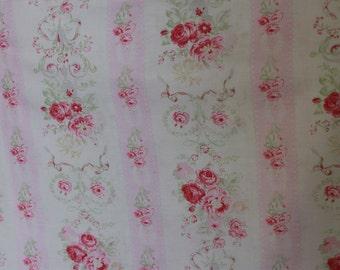 Yuwa Pink Rose Stripe Cotton Fabric  CR4801958