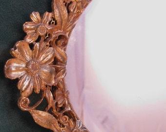 Big Hollywood Regency Tray Cosmos 9081 Gold Flowers Mirror