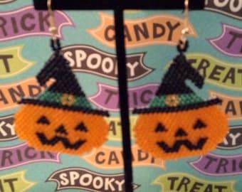 Witch pumpkin earrings