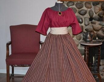 Civil War Pioneer Colonial Burgundy Plaid Skirt Burgundy Blouse and Sash