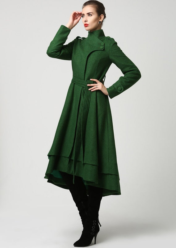 wool coat green coat long coat dark green jacket winter