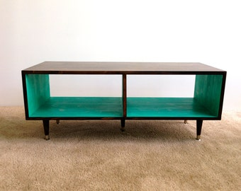 FREE SHIPPING...Media Table Coffee Table Mid Century Modern TV Stand Entertainment Cabinet