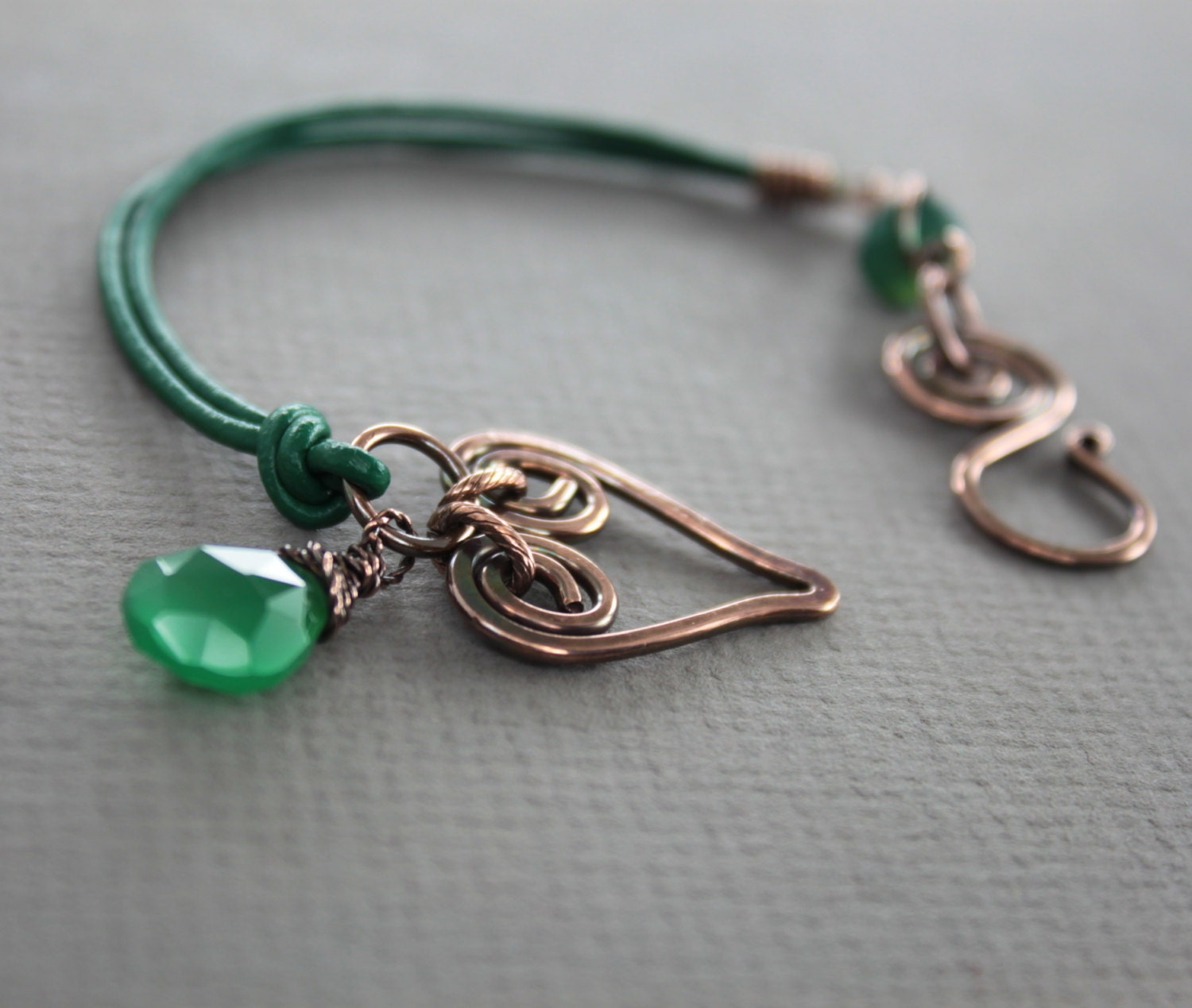 Emerald green copper bracelet with heart and green by