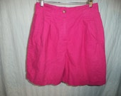 Vinatge 1980s Hot Pink High Waisted Linen & Cotton Shorts - Size 10