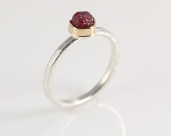 Rough Cut Ruby and Gold Ring- polished 14K gold bezel and hammered sterling silver band
