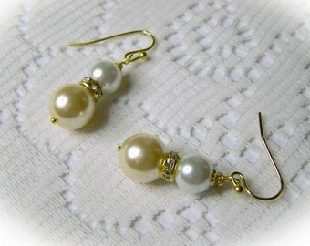 Pearl Earrings - Double Pearls - Victorian Ivory & White Pearls, Cream Pearls, White Pearls Swarovski Crystal elements - Princess style