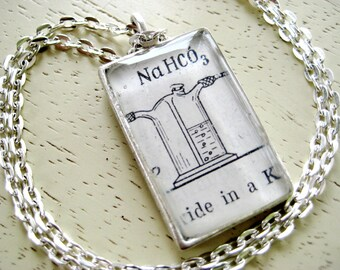 NaHCO3 Chemistry Lab Apparatus from Vintage Text Resin Pendant set in silver plated Pewter with chain