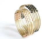 Round brass and woven leather bangle wide - black or natural