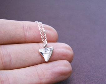 Shark Tooth Necklace Sterling Silver Tiny Delicate Necklace