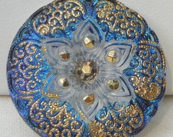 Lacy Flower Czech Glass Button