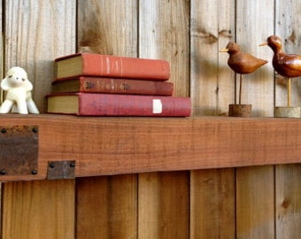 "Floating Box Shelf - Wood - Faux Beam - Reclaimed Wood - Living Room Decor - Mantel - Mantle - Long - Wooden Box Shelf - 95"" Long"