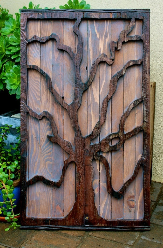 Rustic home decor reclaimed wood tree wall by honeystreasures for Home decor wall hanging