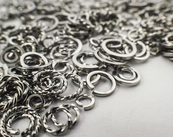 SALE 50 Jump Rings - Deluxe Sample Package - Custom Handmade Stainless Steel - All Square, On Edge and Twisted