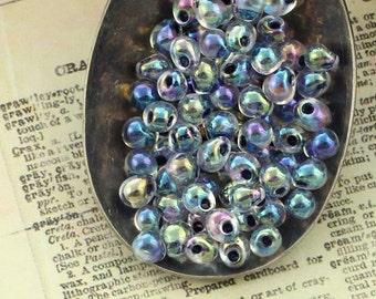 Noir Lined Crystal AB - Miyuki Fringe Glass Beads 3mm X 4mm Drops - 100% Guarantee