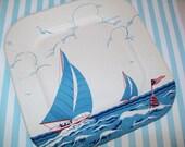 SALE - 1 Vintage paper plate, Unused, sailboats, sail boat, 1950s, paper ephemera