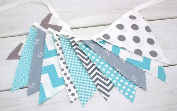 Bunting banner fabric flags nautical nursery by thespottedbarn for Nautical nursery fabric