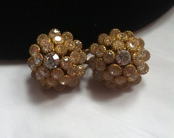 Vintage Stunning Rhinestone Dome Clip on Earrings