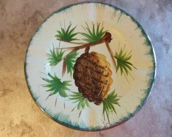 Vintage Pine Cone Ashtray Trinket Dish Jewelry Holder Handpainted