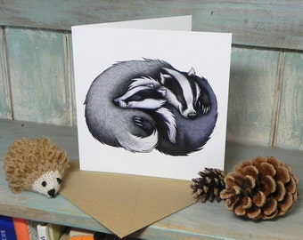 Badger Couple Illustration Square Greeting Card - 280gsm White Card 150 x 150mm Blank Inside with Brown Recycled Envelope