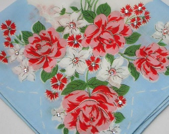 Vintage Blue Handkerchief with Roses and white flowers embellished with sparkling crystal rhinestones.