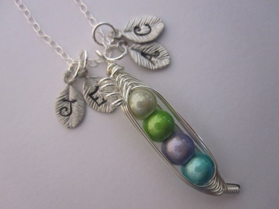 Petite Sweet Peas in a Pod Necklace (2, 3, 4, 5, 6, 7 peas)