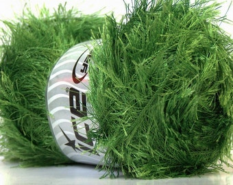 Grass Green Eyelash Yarn Ice 22741 Eyelash 100gr Jungle Green Packer's Green Fun Fur for Cheesehead Scarves, Wreaths, Leis, Fiber Jewelry