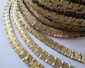 Unusual Vintage Brass Puzzle Chain - 3 Feet Vintage Brass Chain