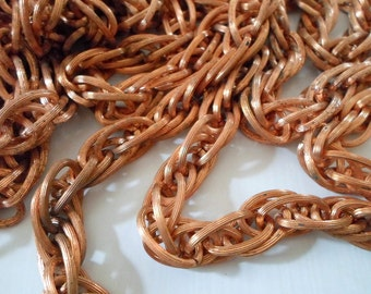 Vintage Copper Plated Chunky Curb Chain - 5 Feet