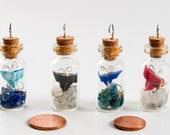Pendant of origami paper butterfly in tiny glass bottle with natural stone chips -choose color and stones - MADE TO ORDER
